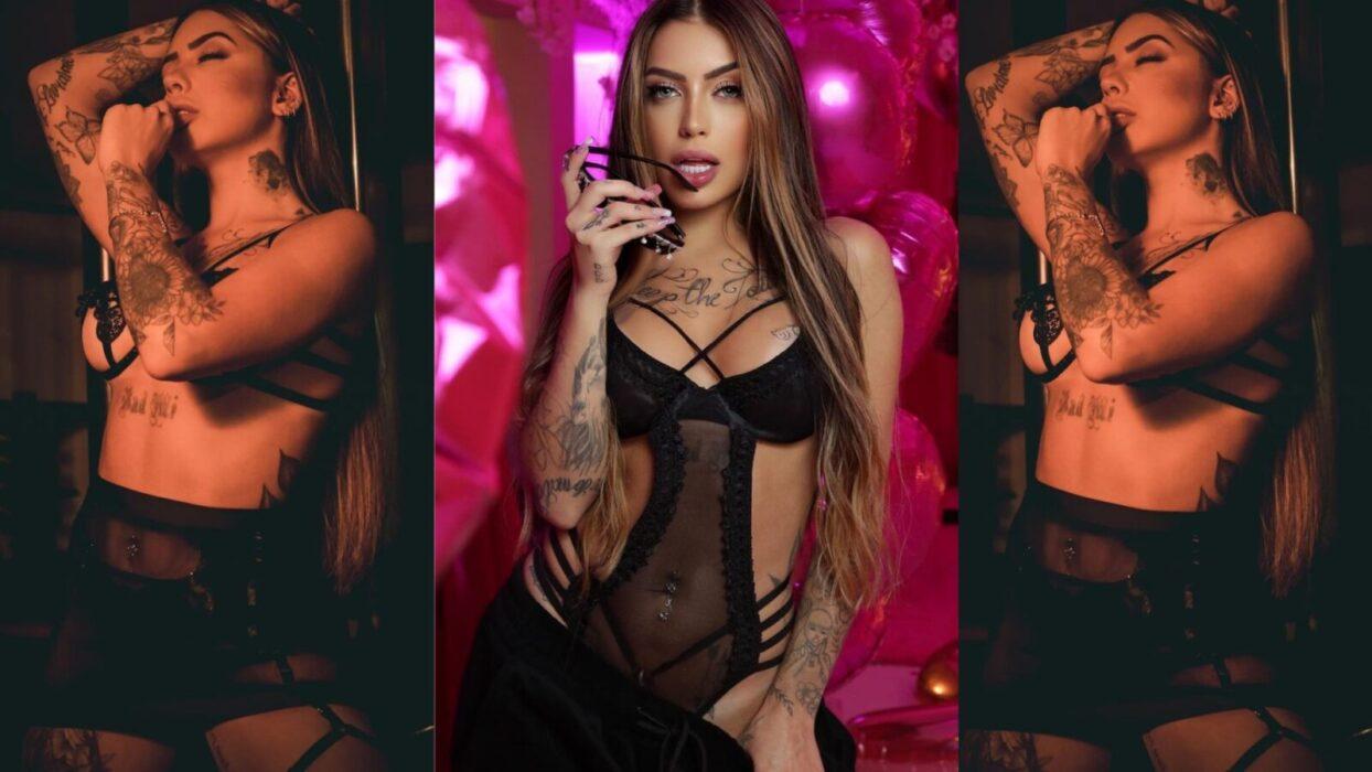 De lingerie sexy, Mirella faz pose exótica e eleva o clima virtual