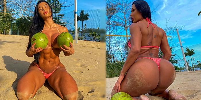 No melhor estilo frente e verso, Gracyanne Barbosa tira biquíni e eleva o clima da internet