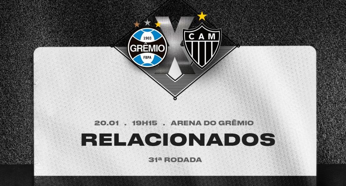 Confira os atletas relacionados do Galo para a viagem a Porto Alegre