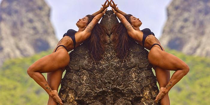 Aline Riscado exibe corpão escultural durante rapel
