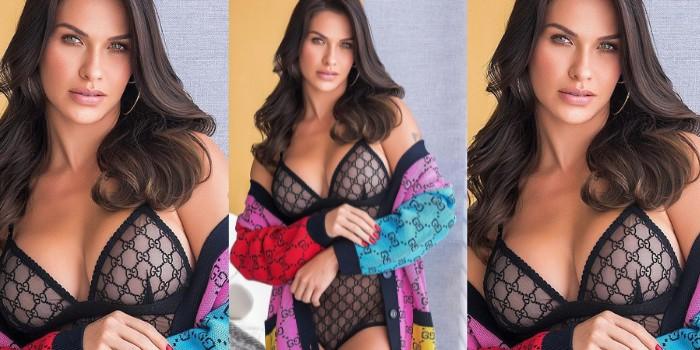 Andressa Suita posa de lingerie rendada em comemoração ao LGTB: