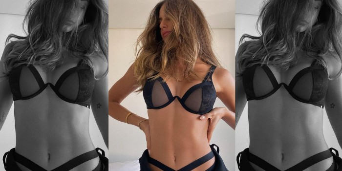 Mari Gonzalez posa de lingerie na cama e acaba mostrando até demais