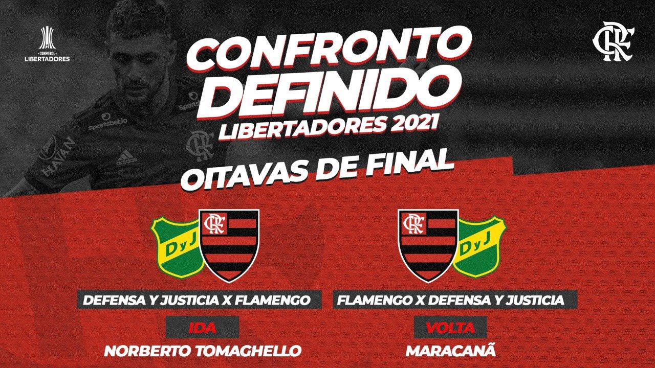 Flamengo enfrenta o Defensa y Justicia nas oitavas de final da Libertadores