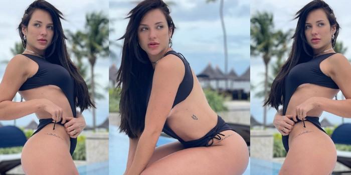 Gabi Martins ostenta corpão saradíssimo em sequência de fotos na piscina