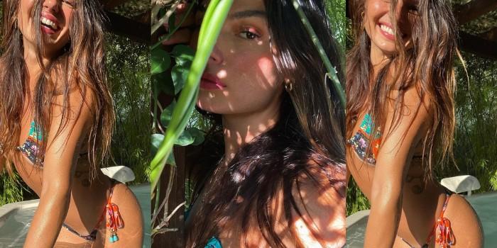 Isis Valverde dá show de bronzeado na piscina e mostra a verdadeira